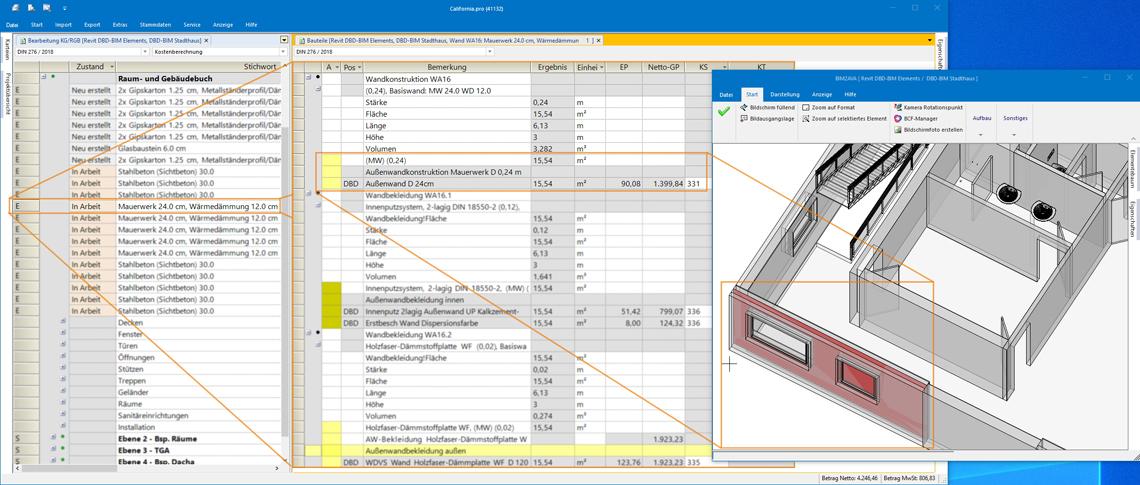 Bis in die einzelne Bauteilschicht stehen alle Informationen aus DBD-BIM Elements zur Verfügung