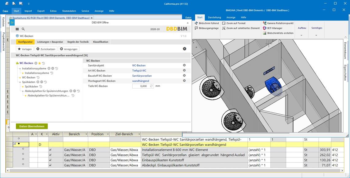 Jedes Objekt lässt sich mittels DBD-BIM Elements beliebig detailliert mit gewünschten Leistungen definieren