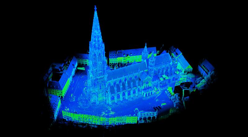 Drohnengestützter 3D-Laserscan des Freiburger Münsters