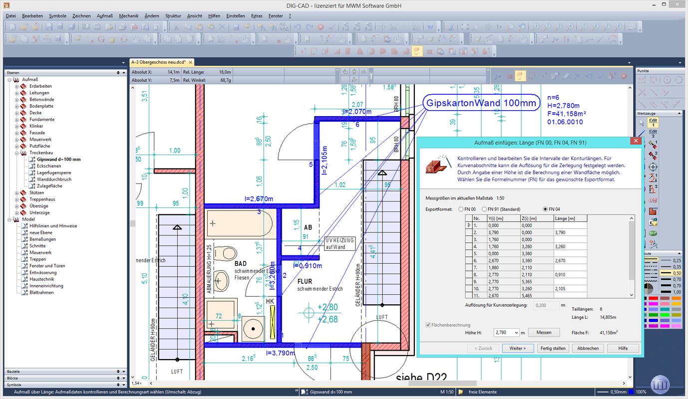 Erfassung Aufmaß über Länge mit einzelnen Wandstücken in DIG-CAD