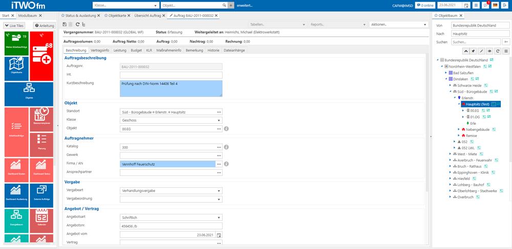 Neues Modul Bauauftrag für das CAFM-System iTWO fm, Bild: RIB IMS GmbH